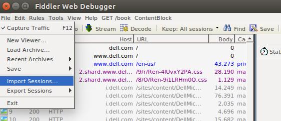 Ubuntu: Using Fiddler to analyze Chrome/Firefox network capture