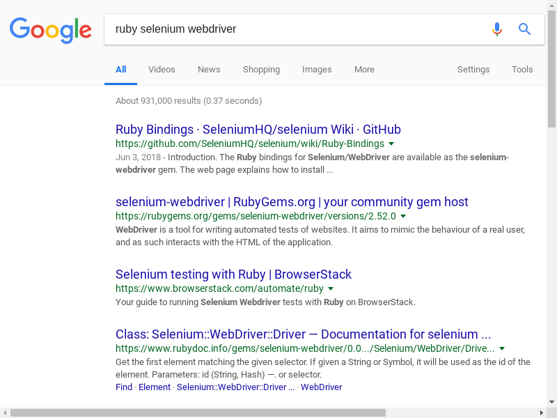 Ruby: Creating Selenium tests using headless Chrome and